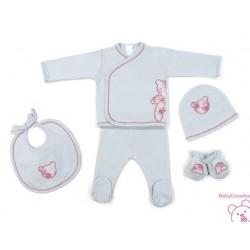 CONJUNTO PRIMERA PUESTA BEBE FLOR ENGLISH ROSE